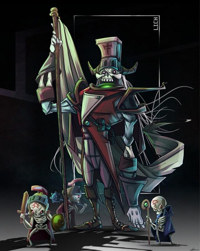 lich skeleton undead concept sketch art