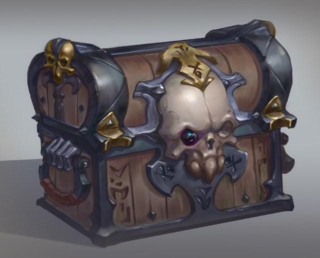 chest skull treasure art concept