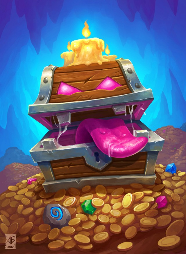 treasure chest hungry art illustration