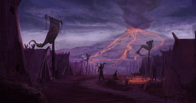 volcano lava settlement fantasy concept art