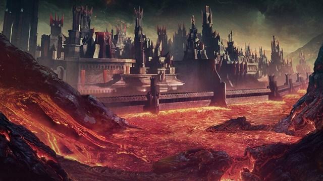 volcano lava fortress magma fantasy art concept
