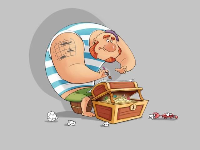 pirate gignger treasure chest art illustration