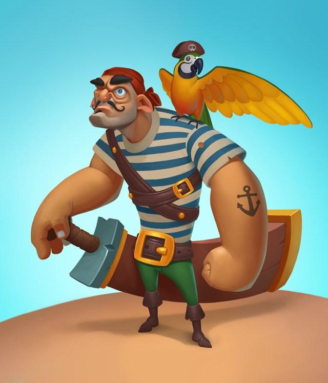 pirate character parrot saber art concept