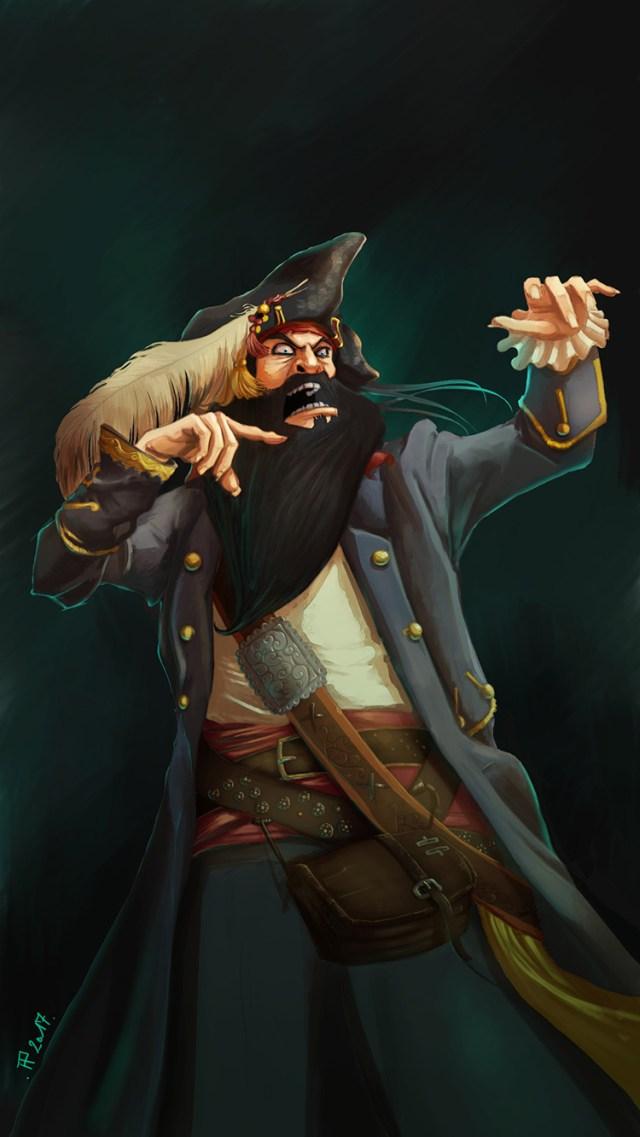 pirate blackbeard character design art illustration