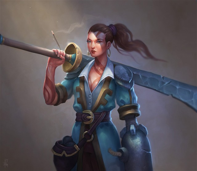pirate female character sword cannon fantasy art concept