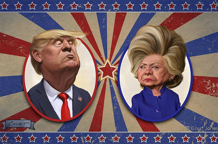 hillary trump court jones caricatures
