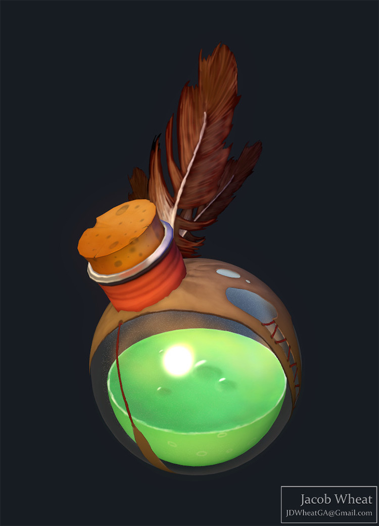 green rounded potion bottle
