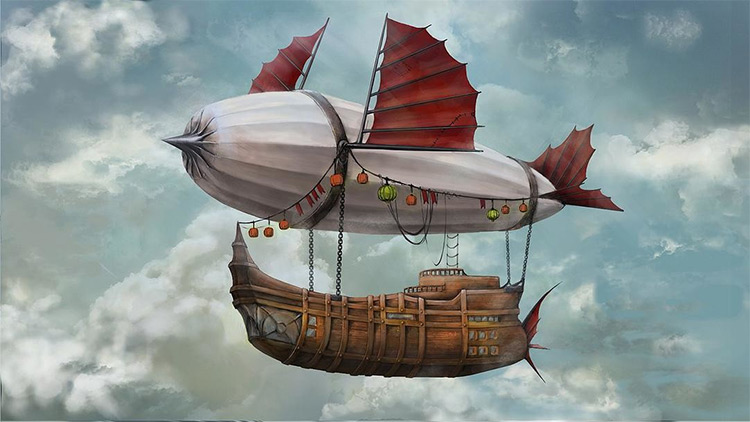 flying ship in the air