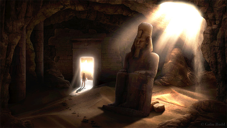 matte egyptian tomb cave