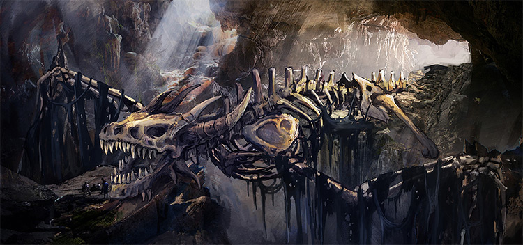 Dragon skeleton bridge concept art