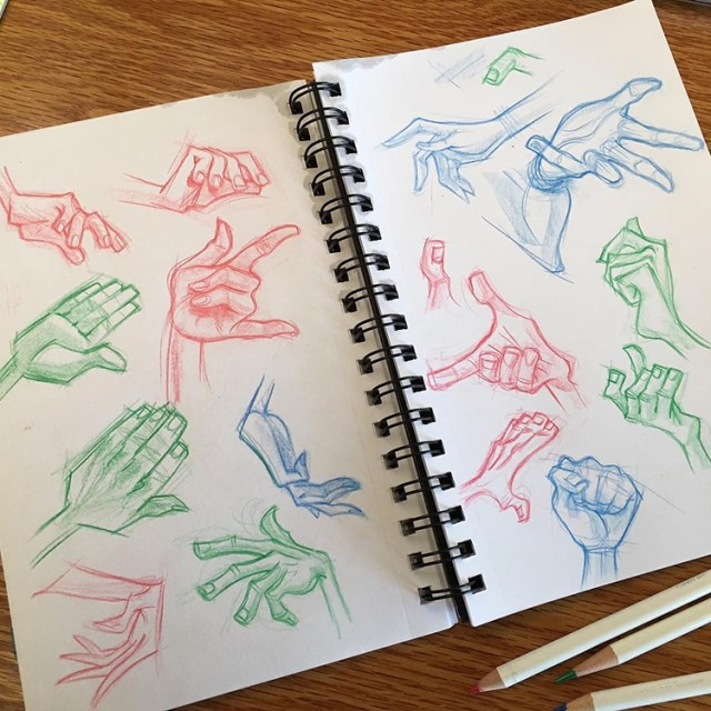 Colorful hand sketches for practice