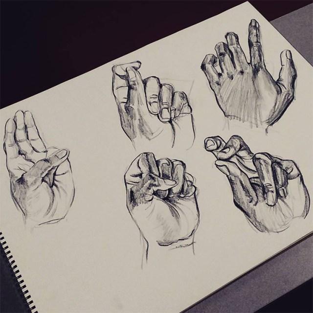 Dark hand finger drawings