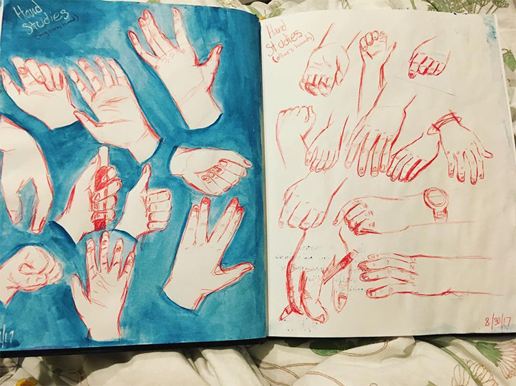 Blue and red hand sketches