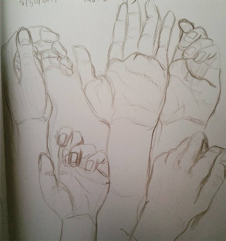 Simple hand sketches for practice