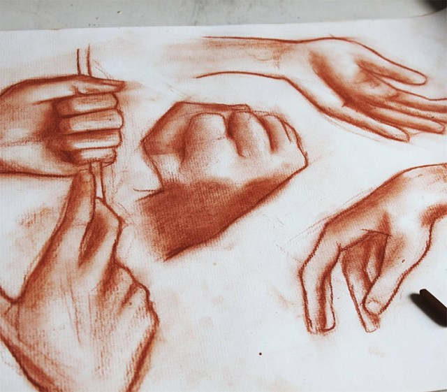 Red hand drawings
