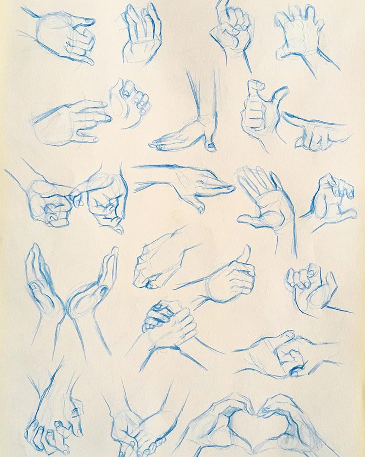 Blue pencil hand drawings sketches