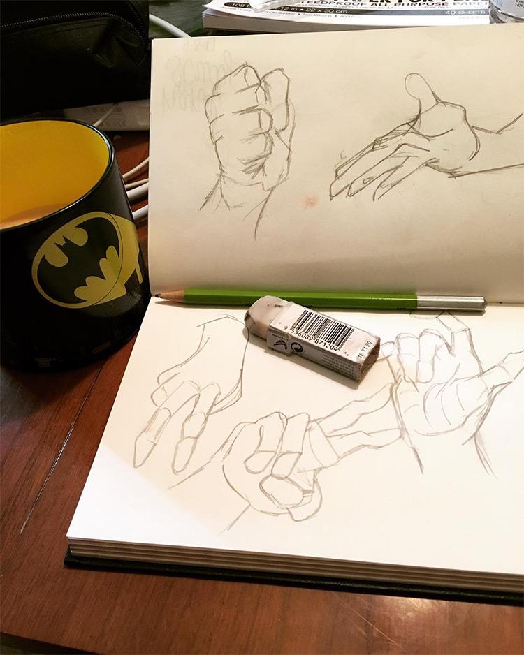 Sketchbook photo practicing hands