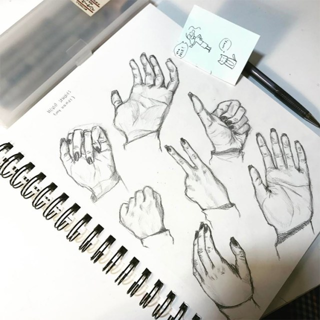 Hands with long nails