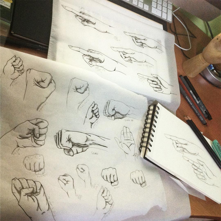 Tons of hand sketches on paper