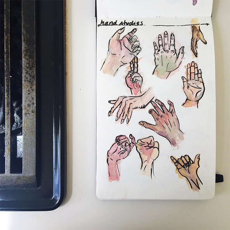 Clean hand studies in watercolor