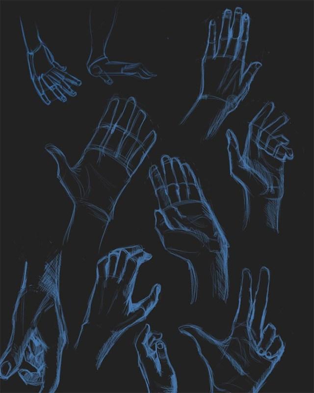 Dark background blue pencil hand drawings
