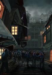 concept medieval town crowd buildings district prison towns inspiration