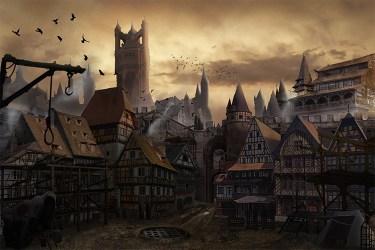 medieval concept prison district environment town artwork buildings towns