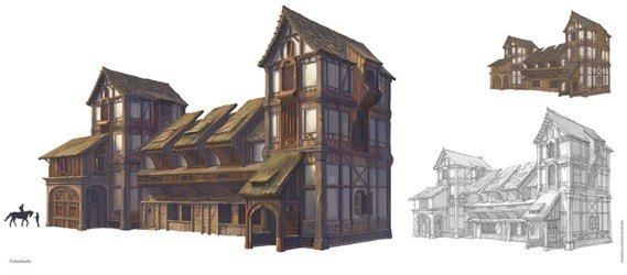 medieval concept buildings architecture mountain exterior prison towns district inspiration created