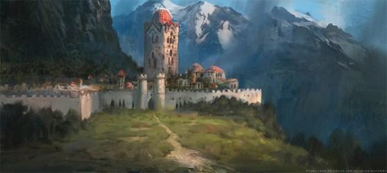 medieval concept mountain landscape towns buildings