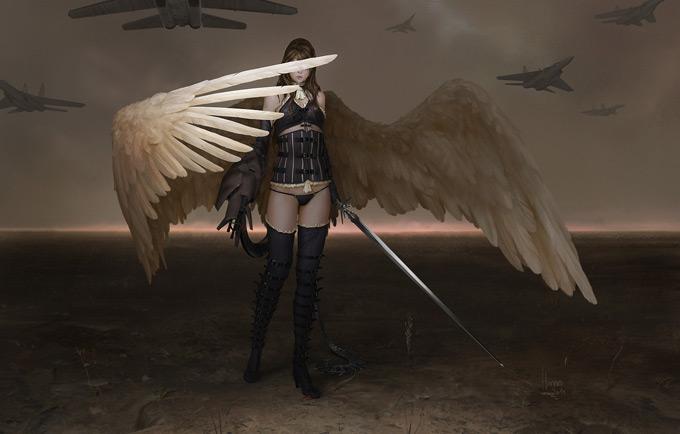Fantasy Fallen Angels Girls Wallpaper Johannes Voss Concept Art World