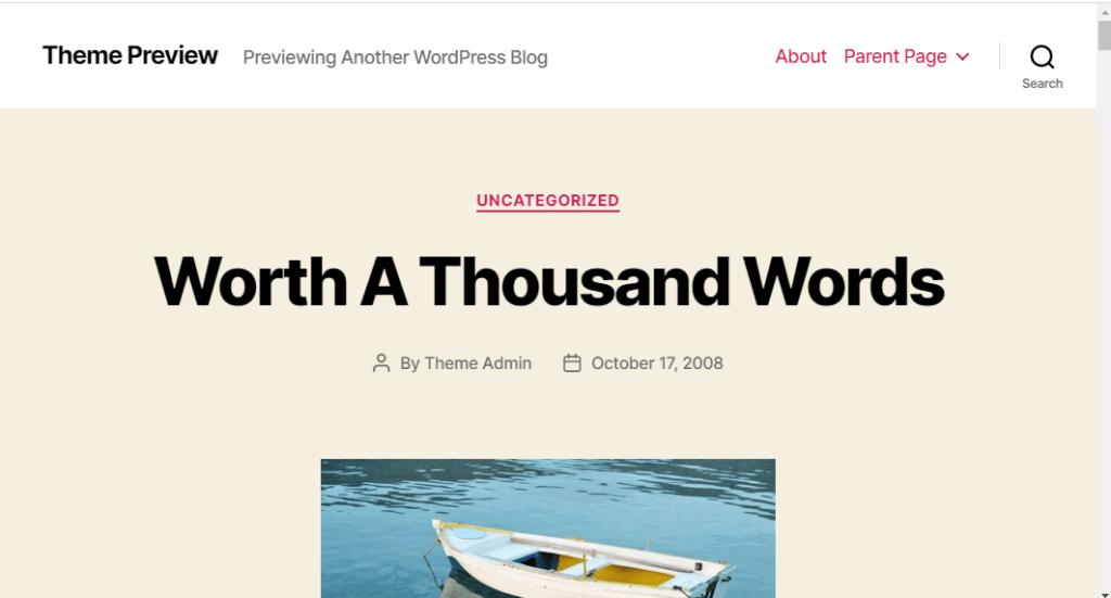 WordPress default theme page