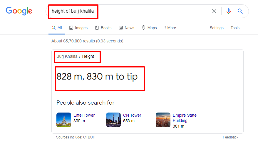 Google information box