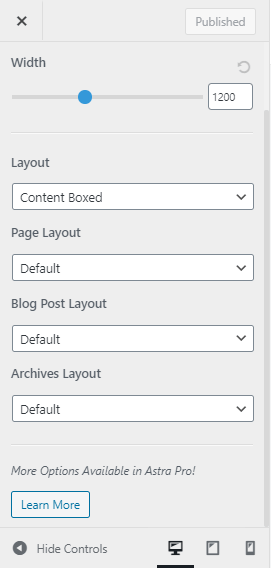 Astra page layout