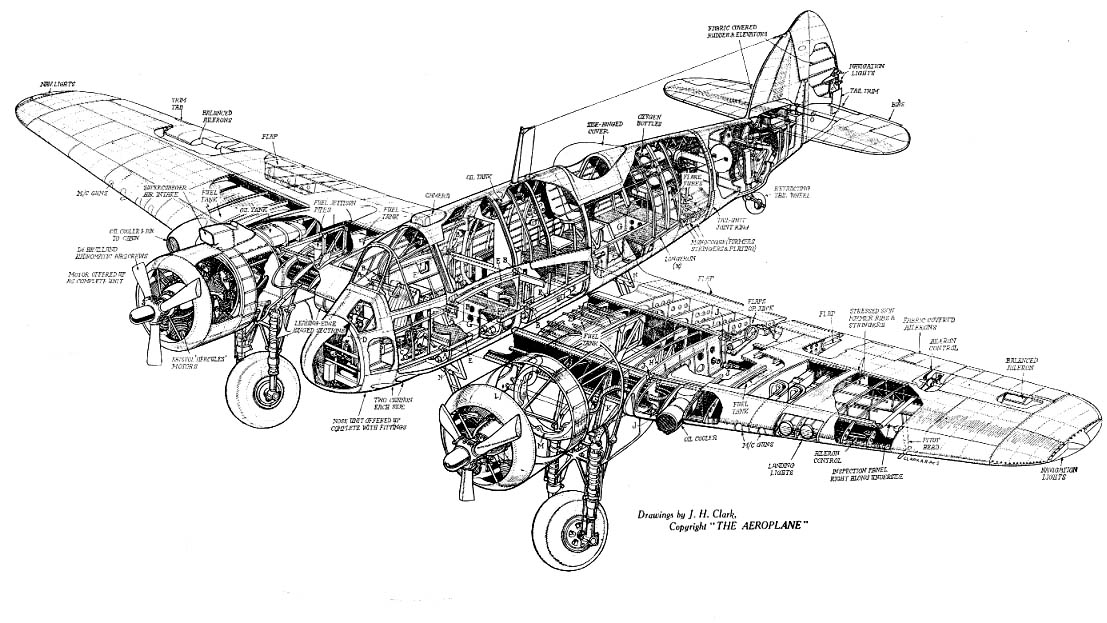 Bristol Beaufighter Cutaway Drawing in High quality