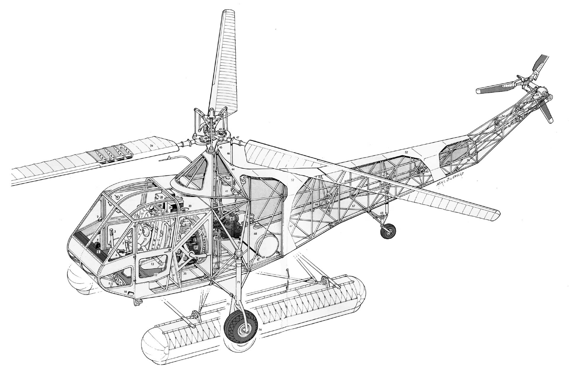 Sikorsky R 4 Cutaway Drawing In High Quality