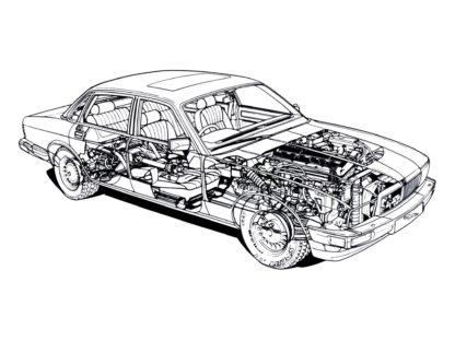 Jaguar cars Cutaway Drawings in High quality