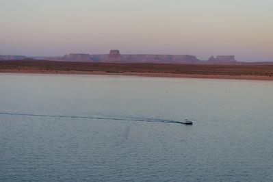 lake powell boat at dusk