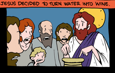 Jesus makes wine - click for consequences