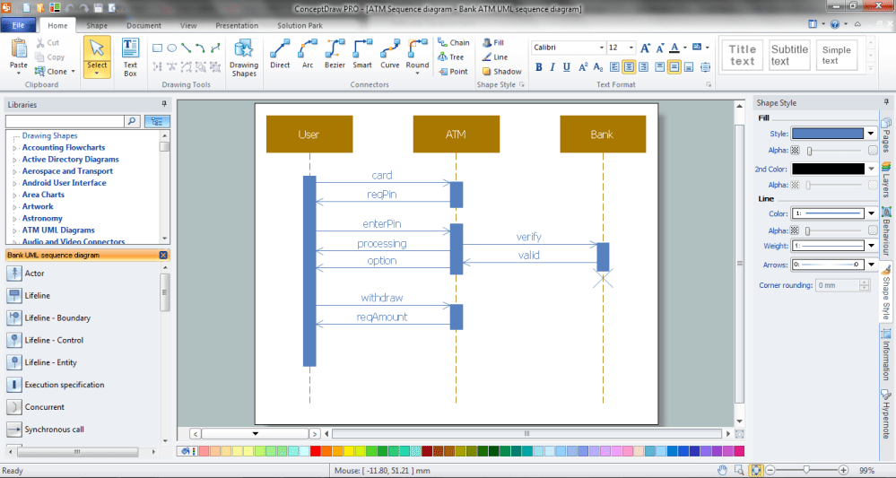 medium resolution of example 1 bank sequence diagram in conceptdraw diagram p