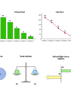 Data comparison charts and visual indicators up down arrows indicator two also design elements rh conceptdraw