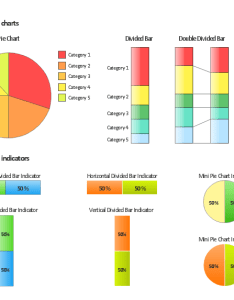 Composition charts and visual indicators pie chart mini indicator double ided also design elements rh conceptdraw