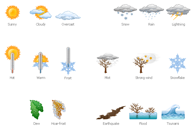 Design Elements Weather Nature Clipart And Illustrations Weather Vector Stencils Library Weather Clip Art