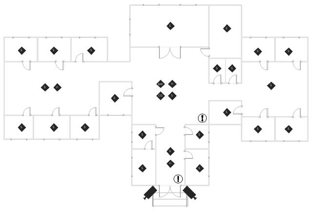 Smoke alarm equipment layout floor plan