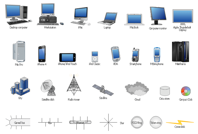 Design Element Computer And Network For Network Diagrams