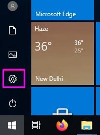 settings Options in Windows 10