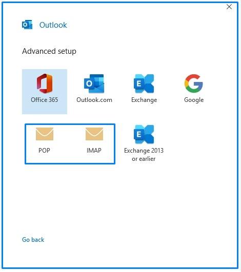 POP Imap Option on Outlook 2019