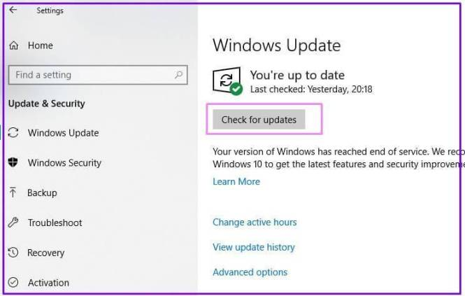 Controllo di Windows Update su Windows 10