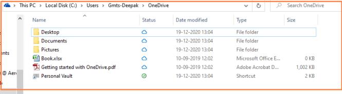 Folder Information after setup OneDrive
