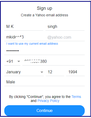 Create and yahoo account click on continue