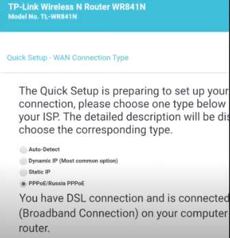Wan connection Type TP-Link wifi router